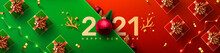 2021 New Year Promotion Poster Or Banner With Gift Box And Christmas Element For Retail,Shopping Or Christmas Promotion.New Year 2021 Symbol With Red Ball Ornaments.vector Illustration Eps 10