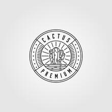 Line Art Cactus Logo Minimalist Vector Illustration Design