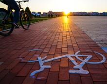 Bikes Lane Symbol And Cyclist....