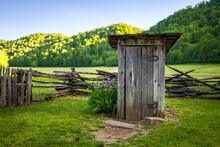 Old Wooden Outhouse In The Great Smoky Mountains National Park In North Carolina.