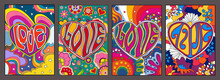 Love In Hearts, Psychedelic Posters, Hippie Art Style Illustrations, Colorful Backgrounds, Flowers, Rainbows, Clouds