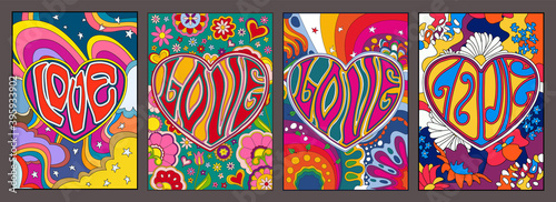 Love in Hearts, Psychedelic Posters, Hippie Art Style Illustrations, Colorful Ba фототапет