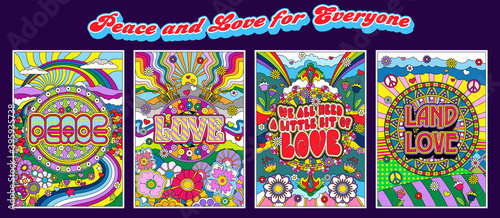 Платно Love and Peace Hippie Style Posters, Psychedelic Color Mosaic Illustrations