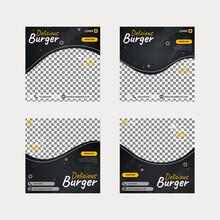 Burger Food Social Media Post Template Set