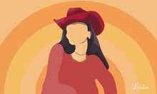 Girl In A Cowboy Hat Illustration And Sunshine.