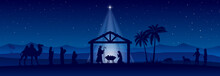 Blue Christmas Nativity Scene Banner Background. Vector Illustration.