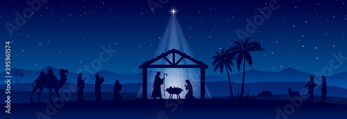 Blue Christmas Nativity scene banner background Wallpaper Mural