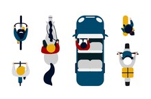 People On Transport Top View. Cartoon People Driving Car, Motorbike And Bicycle. Cute Man And Woman Riding Horse, On Skateboard. Transportation, Leisure Pastime Or Order Delivery. Vector Vehicle Set