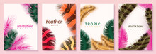 Feather Posters. Invitation And Birthday Cards With Realistic Fluffy 3D Rainbow Plumage, Minimal Background Set With Colored Feathers. Exotic Pen Postcard Collection Vector Banners With Copy Space
