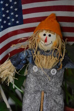 Scarecrow And American Flag
