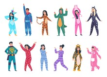 People In Pajamas. Cartoon Young Men And Women Wear Cozy Clothes For Sleeping. Isolated Funny Suits With Animalistic Prints, Superheroes And Fiction Characters Costumes. Colorful Overalls, Vector Set