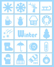 A Set Of 18 White And Blue Icons In A Simple, Flat Style On Winter Themes Of Weather, Nature, Clothes And Holidays.