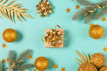 Christmas Gift Box Among Fir Branches