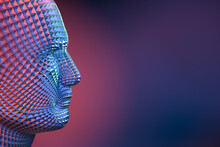 Digitized Model Of A Male Human Head. Science Fiction Robot Concept - Cyborg, Artificial Intelligence.