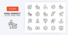Mission Vision Values Line Icons 256 X 256