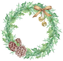 Watercolor Christmas Mistletoe Leaves Wreath Decorated With A Golden Bow, Jingle Bells And Cones. New Year's Template.