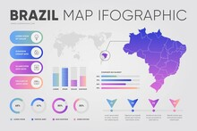 Flat Brazil Map Infographic