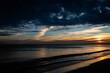 beautiful, mystical sunrise over the calm sea