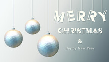 Merry Christmas Happy New Year Fancy Poly Silver Ornament Bauble Shape In Hipster Origami Style. Ideal For Xmas Card Or Elegant Holiday Party Invitation. EPS10 Vector.