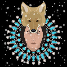Spiritual Native American Design. Head Of Indian Man In Coyote Mask Or Helmet And Snowflakes. Male Indigenous Archetype. Spirit Of Nature. Winter Animal Totem.