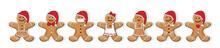 Lebkuchenmann Und Mädchen Gruppe, Verschiedene Sorten,  Für Jeden Tag Eine Lebkuchen Figur, Die Weihnachtsbäckerei, Vektor Illustration Isoliert Auf Weißem Hintergrund