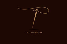 Abstract Initial T Tailor Logo, Thread And Needle Combination With Gold Colour Line Style , Flat Logo Design Template, Vector Illustration