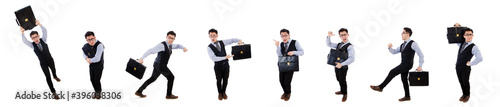 Fotografie, Obraz Funny businessman with briefcase isolated on white