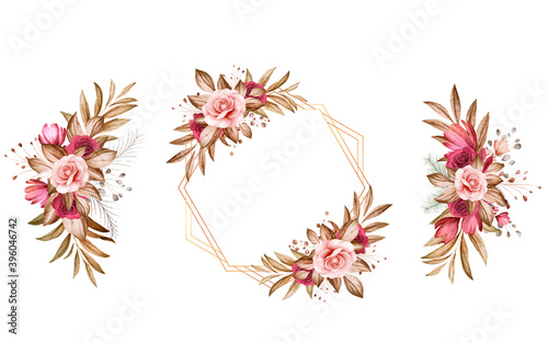 Fototapeta Set of watercolor floral arrangements of brown and burgundy and brown roses and leaves. Botanic decoration illustration for wedding card, fabric, and logo composition obraz