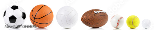 Fotografiet Various balls isolated on white background - Ball Sport Panorama