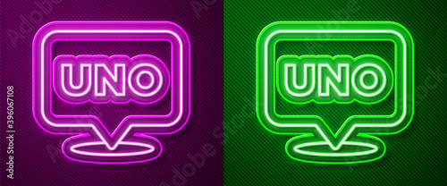 фотография Glowing neon line Uno card game icon isolated on purple and green background