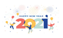 Celebrate With Each Other In The New Year 2021 And In A Happy Moment Vector Desıgn