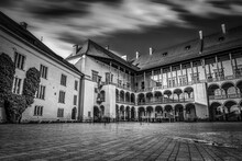 The Royal Palace's Inner Court In Black And White Inside The Wawel Castle In Krakow, Poland