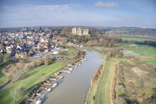 Arundel Castle Aerial View With The River Arun In The Foreground.