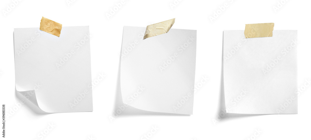 Fototapeta paper message note reminder blank background office business white empty page label adhesive tape