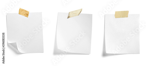 Obraz paper message note reminder blank background office business white empty page label adhesive tape - fototapety do salonu