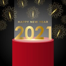 Happy New Year 2021 On Fireworks Background
