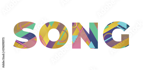 Canvas Song Concept Retro Colorful Word Art Illustration