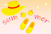 Crocs, Hat And Sun Glasses. Summer-themed Yellow Items