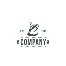 Logo Hot Coffee Cup, Emblem Lo...