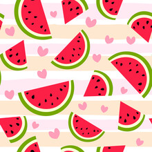 Cute Watermelon Slice Seamless Pattern In Flat Style. Fruit Striped Background With Hearts. Wrapping Paper, Fabric, Textile. Vector Illustration.