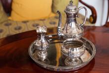 Vintage Silver Dishware Set With Jug