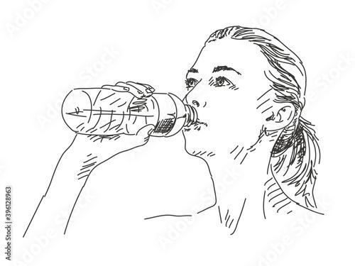 Fotografie, Obraz Sketch of woman drinking water Hand drawn vector illustration