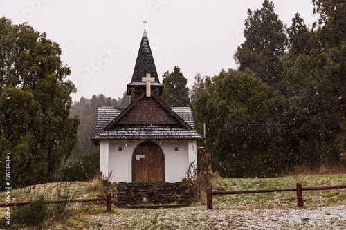 Virgen del Lago chapel at Los Alerces National Park during winter season in Esqu Fototapet