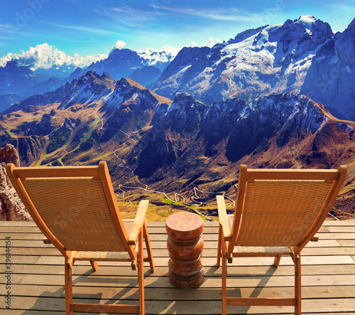 Two comfortable wood deck chairs Canvas Print