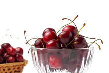 Sweet Cherries In A Glass Vase...