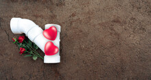 Valentine's Day Decoration Composition With Construction Tools, Red Flowers  And 3d Hearts.  Space For Text And Content. Valentines With Plumbing Pipe.