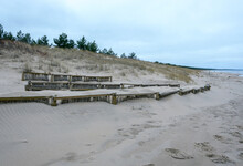 Dune Fencing From Weathering On The Shores Of The Baltic Sea.