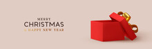 Christmas Red Empty Open Gift Box Template. Xmas Design Realistic Decorative Objects. Sale Banner, Surprise Poster, Flyer And Brochure. Mock Up Holiday. Celebrate Birthday, Anniversary, Wedding.