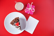 Red Background With Cocoa Cup With Chocloate Cake For Valentine's Day