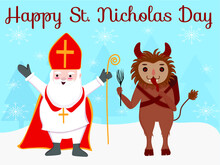 Greeting Card With Text Happy St. Nicholas Day And Saint Nicholas And Krampus Cute Cartoon Characters Vector Illustration On Blue Winter Snow Forest Background. Traditional European Advent.